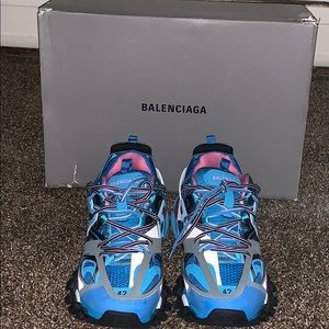Blue balenciaga track shoes.